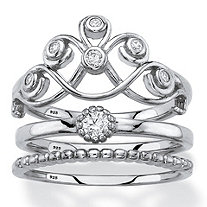 Round Cubic Zirconia Scroll, Solitaire and Beaded 3-Piece Stackable Ring Set in Sterling Silver