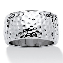 Hammered Wide Band Ring in Silvertone (11mm)