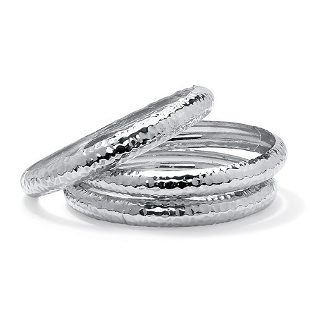 """Hammered 3-Piece Bangle Bracelet Set in Silvertone 8.5"""" at PalmBeach Jewelry"""