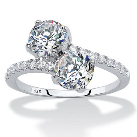 2.74 TCW Round Cubic Zirconia 2-Stone Bypass Ring Sterling Silver at PalmBeach Jewelry
