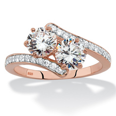 Round Cubic Zirconia 2-Stone Bypass Ring 2.20 TCW in Rose Gold over Sterling Silver at PalmBeach Jewelry