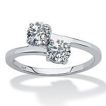 Round Cubic Zirconia 2-Stone Bypass Ring 1 TCW in Sterling Silver