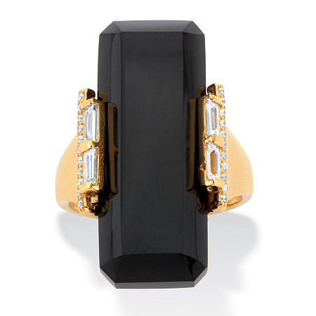 Genuine Black Onyx and Cubic Zirconia Cocktail Ring .59 TCW in 18k Gold over Sterling Silver at PalmBeach Jewelry