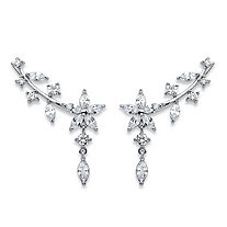 Marquise-Cut Cubic Zirconia Floral Ear Pin Earrings 3.25 TCW in Silvertone