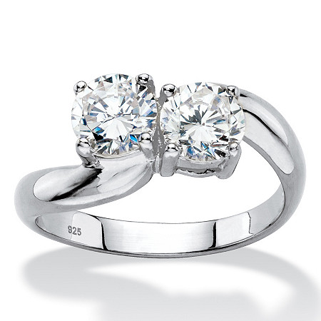 Round Cubic Zirconia 2-Stone Bypass Ring 1.96 TCW in Platinum over Sterling Silver at PalmBeach Jewelry