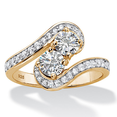 Round Cubic Zirconia 2-Stone Bypass Ring 1.39 TCW in 14k Gold over Sterling Silver at PalmBeach Jewelry