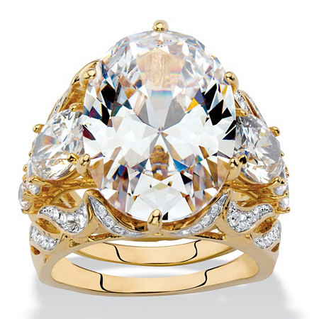 Oval-Cut Cubic Zirconia and Crystal 3-Piece Wedding Ring Set 15.78 TCW Gold-Plated at PalmBeach Jewelry