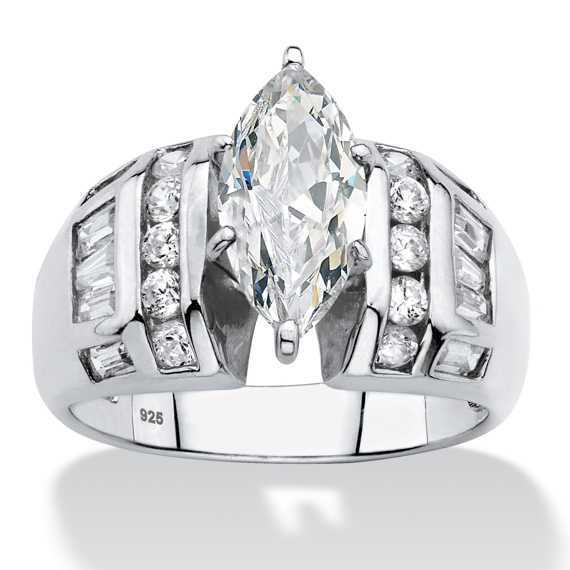 Marquise Cut And Baguette Cubic Zirconia Engagement Ring 317 TCW In Platinum Over Sterling