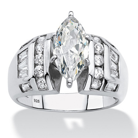 Marquise-Cut and Baguette Cubic Zirconia Engagement Ring 3.17 TCW in Platinum over Sterling Silver at PalmBeach Jewelry
