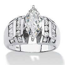 SETA JEWELRY Marquise-Cut and Baguette Cubic Zirconia Engagement Ring 3.17 TCW in Platinum over Sterling Silver