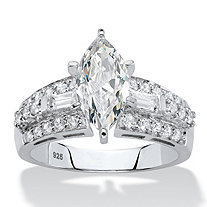 Marquise-Cut and Baguette Cubic Zirconia Engagement Ring 2.61 TCW in Platinum over Sterling Silver