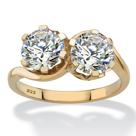 Round Cubic Zirconia 2-Stone Bypass Ring 3 TCW in 14k Gold over Sterling Silver at PalmBeach Jewelry