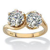 Round Cubic Zirconia 2-Stone Bypass Ring 3 TCW in 14k Gold over Sterling Silver