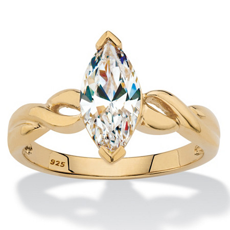Marquise-Cut Cubic Zirconia Twisted Engagement Ring 2 TCW in 14k Gold over Sterling Silver at PalmBeach Jewelry