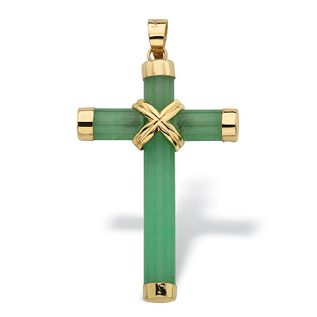 Genuine Green Jade and 10k Yellow Gold Cross Pendant 1 1/2