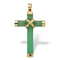 Genuine Green Jade and 10k Yellow Gold Cross Pendant 1 1/2""