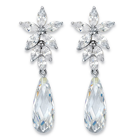 Teardrop and Marquise Cubic Zirconia Silvertone Floral Drop Earrings 11.94 TCW in Silvertone 1.75