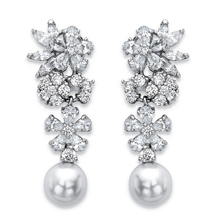 Simulated Pearl and Cubic Zirconia Floral Drop Earrings 9.30 TCW in Silvertone at PalmBeach Jewelry