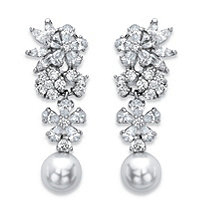 Simulated Pearl and Cubic Zirconia Floral Drop Earrings 9.30 TCW in Silvertone