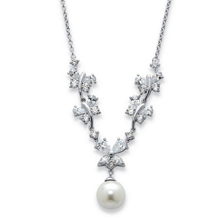 Simulated Pearl and Cubic Zirconia Floral Necklace 3.78 TCW in Silvertone 16