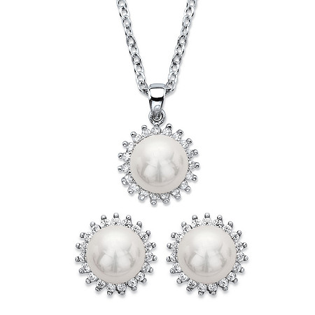 Genuine Cultured Mother-of-Pearl and Cubic Zirconia 2-Piece Halo Earrings and Necklace Set .29 TCW in Silvertone 18