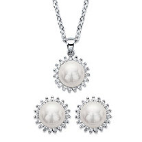 "Genuine Cultured Mother-of-Pearl and Cubic Zirconia 2-Piece Halo Earrings and Necklace Set .29 TCW in Silvertone 18""-19"""