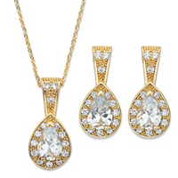 Pear Drop Cubic Zirconia 2-Piece Halo Earrings And Pendant Necklace Set ONLY $22.93