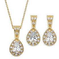 Pear Drop Cubic Zirconia 2-Piece Halo Earrings and Pendant Necklace Set 6.53 TCW in Gold Tone 15""