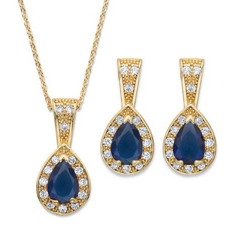 Pear Drop Simulated Blue Sapphire and Cubic Zirconia 2-Piece Earrings and Pendant Necklace Set 8.63 TCW in Gold Tone 15