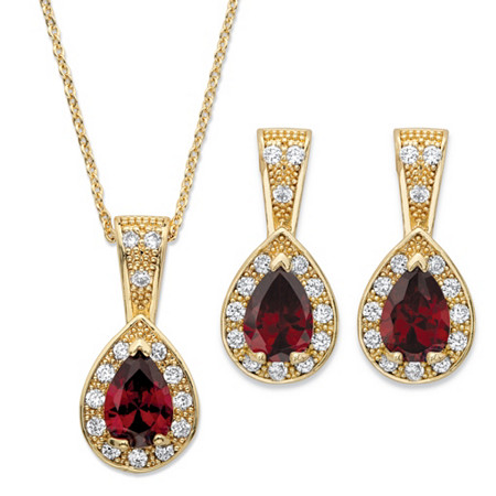 Pear Drop Simulated Red Ruby and Cubic Zirconia 2-Piece Halo Earrings and Pendant Necklace Set 8.63 TCW in Gold Tone 15