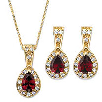 Pear Drop Simulated Red Ruby Crystal and Cubic Zirconia 2-Piece Halo Earrings and Pendant Necklace Set 1.13 TCW in Gold Tone 15""