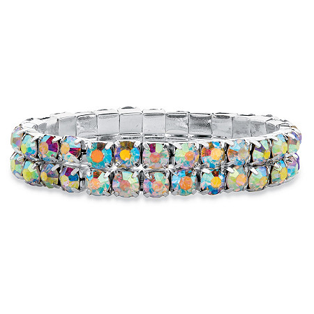"Round Aurora Borealis Crystal Double-Row Stretch Bracelet in Silvertone 7"" at PalmBeach Jewelry"