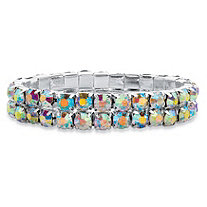 Round Aurora Borealis Crystal Double-Row Stretch Bracelet in Silvertone 7""