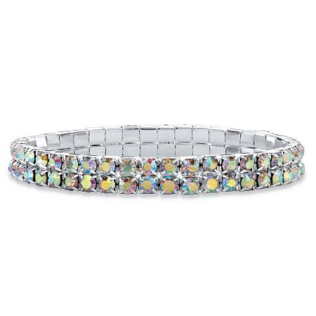 Round Aurora Borealis Crystal Double-Row Stretch Bracelet in Silvertone 7