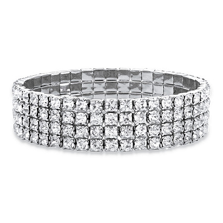 "Round Crystal Multi-Row Stretch Bracelet in Silvertone 7"" at PalmBeach Jewelry"