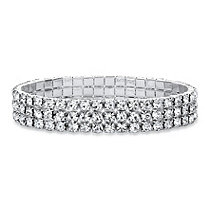 Round Crystal Triple-Row Stretch Bracelet in Silvertone 7""