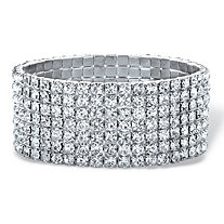 Round Crystal Multi-Row Stretch Bracelet in Silvertone 7""