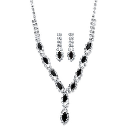 """Marquise-Cut Black and White Crystal 2-Piece Halo Earrings and Necklace Set in Silvertone 18""""-23"""" at PalmBeach Jewelry"""