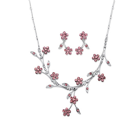 Pink Crystal Floral Vine 2-Piece Drop Earrings and Necklace Set in Silvertone 16.5