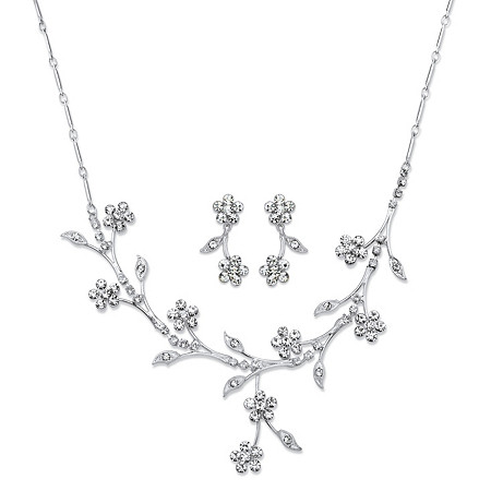 Crystal Floral Vine 2-Piece Drop Earrings and Necklace Set in Silvertone 16.5