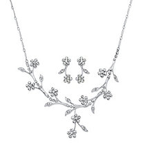 "Crystal Floral Vine 2-Piece Drop Earrings and Necklace Set in Silvertone 16.5""-19.5"""