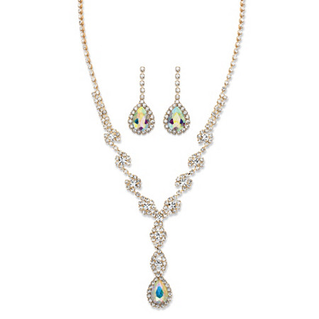 """Pear-Cut Aurora Borealis Crystal 2-Piece Halo Drop Earrings and Twisted Strand Y Necklace Set in Gold Tone 15""""-20"""" at PalmBeach Jewelry"""