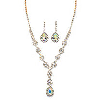 Pear-Cut Aurora Borealis Crystal 2-Piece Halo Drop Earrings and Twisted Strand Y Necklace Set in Gold Tone 15