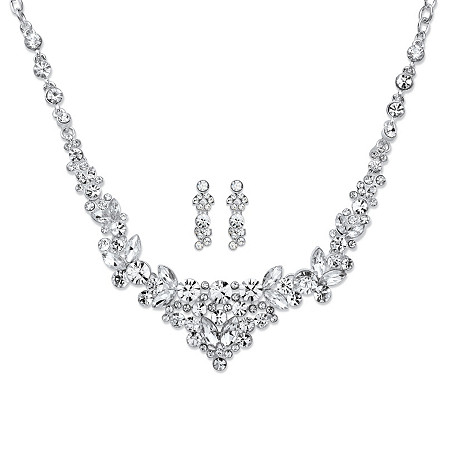 "Round and Marquise Crystal Floral 2-Piece Drop Earrings and Cluster Necklace Set in Silvertone 18""-21"" at PalmBeach Jewelry"