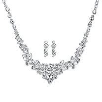 "Round and Marquise Crystal Floral 2-Piece Drop Earrings and Cluster Necklace Set in Silvertone 18""-21"""