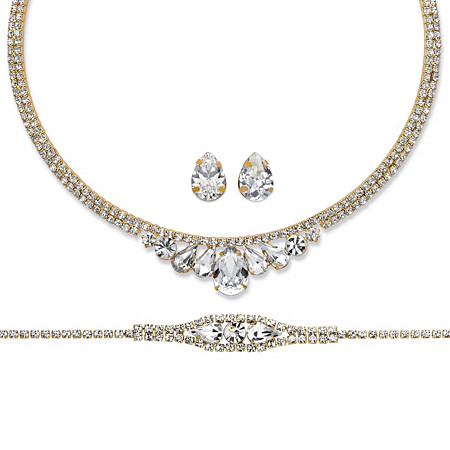 Pear-Cut and Round Crystal 3-Piece Wraparound Tiara-Inspired Necklace, Bracelet and Stud Earrings Set in Gold Tone 14