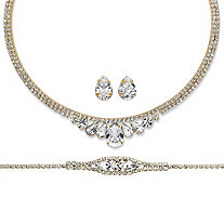 Pear-Cut and Round Crystal 3-Piece Wraparound Tiara-Inspired Necklace, Bracelet and Stud Earrings Set in Gold Tone 14""