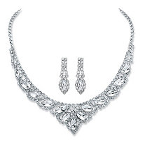 Marquise-Cut Crystal 2-Piece Drop Earrings and Tiara Bib Necklace Set in Silvertone 13