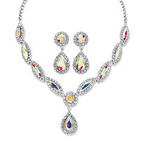 Pear-Cut Aurora Borealis Crystal 2-Piece Drop Earrings and Tiara Bib Necklace Set in Silvertone 14