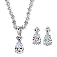 Radiant Pear Cubic Zirconia 2-Piece Drop Earrings And Necklace Set ONLY $18.99